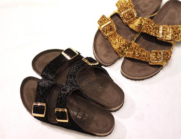 Birkenstock Velour Persian Gold Persian Black